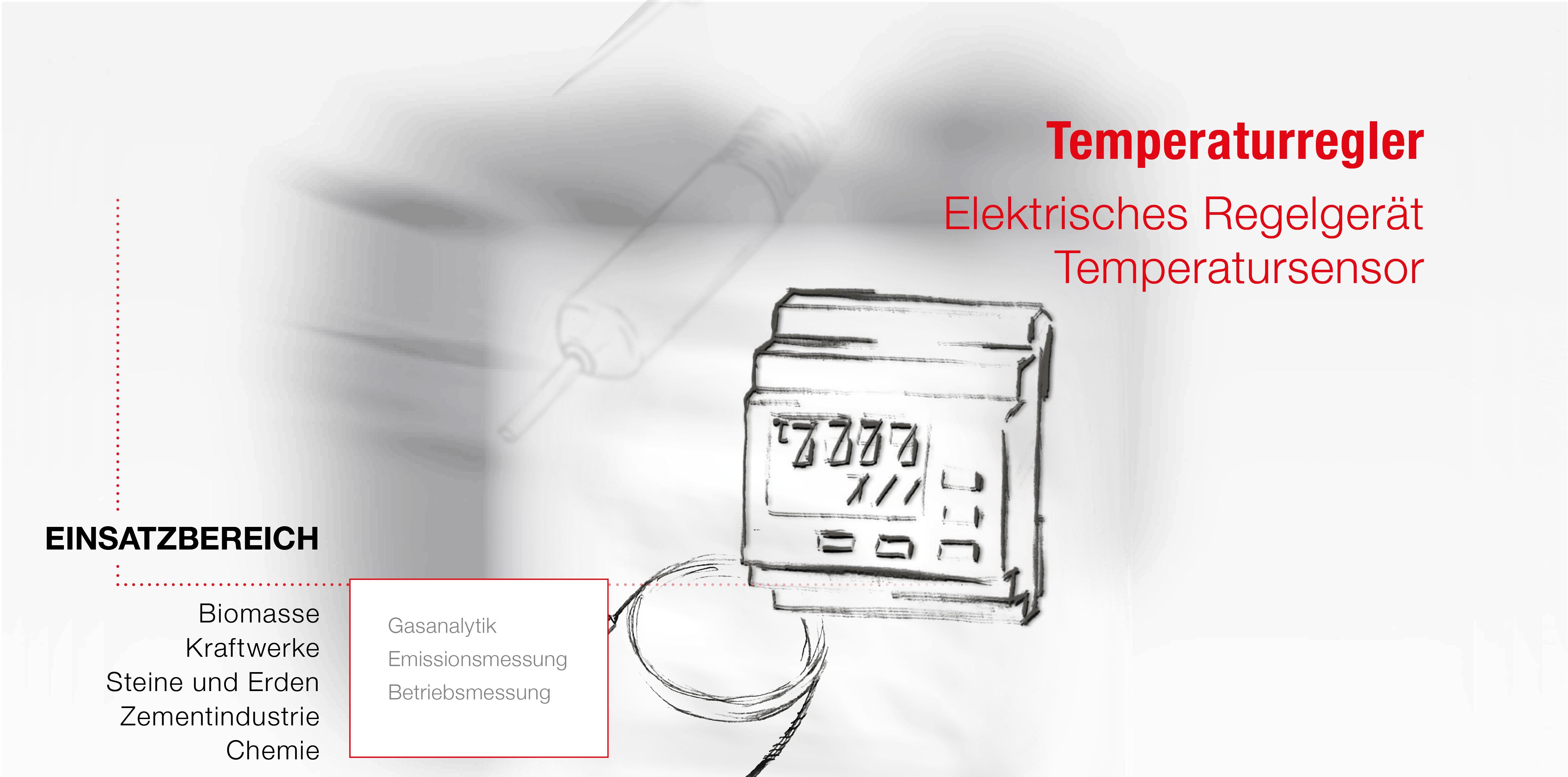 Zubehör für die Gasentnahmeleitung bei der Gasanalyse. Elektrisches Regelgerät und Temperatursensor als Zeichnung