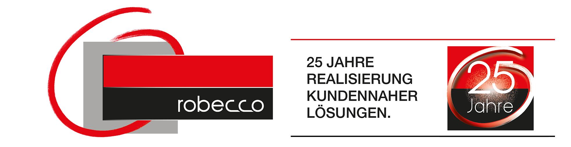 Jubiläumslogo für 25 Jahre robecco. Realisierung kundennaher Lösungen